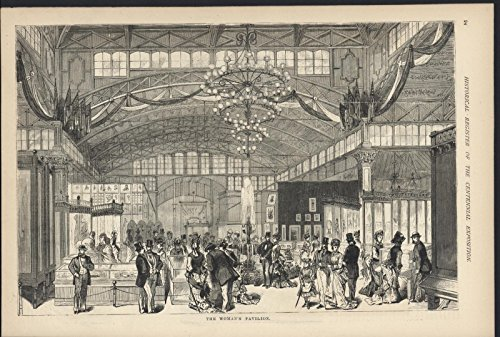 Woman Pavilion Chandelier Philadelphia Centennial 1876 antique wood - 1876 Antique Engraving