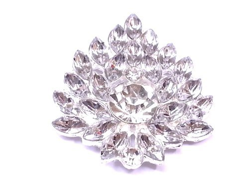 10 x 42mm Stick On Diamante flower Cluster Wedding Crystal Toppers Brooch