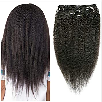 Afro Kinky Straight Hair Clip In Human Hair Extensions 4B 4C 100% Human Natural Black Color Hair Clip Ins Full Head Brazilian Virgin Remy Hair 8PC/Set 100G 12-26 for Black Women (12INCH/30CM) Henan Xuchang Alice Hair CO. LTD