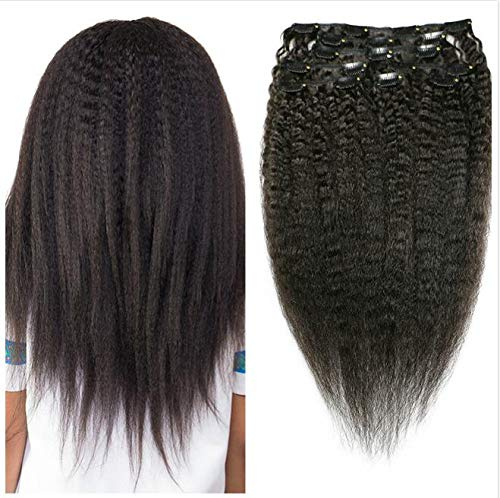 Afro Kinky Straight Hair Clip In Human Hair Extensions 4B 4C 100% Human...