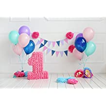HUAYI 7x5ft Happy Girls Birthday Backdrop Colorful Balloons Backdrops for Photography Paper Flowers Sweet Newborn Baby Kids 1st Birthday Party Portraits Decoration Xt-6534