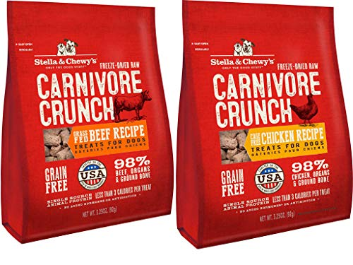 - Stella & Chewy's Carnivore Crunch Freeze-dried Dog Treats 2 Flavor Variety Bundle: (1) Cage-free Chicken Recipe and (1) Cage-free Beef Recipe, 3.25 Oz Each (2 Bags Total)