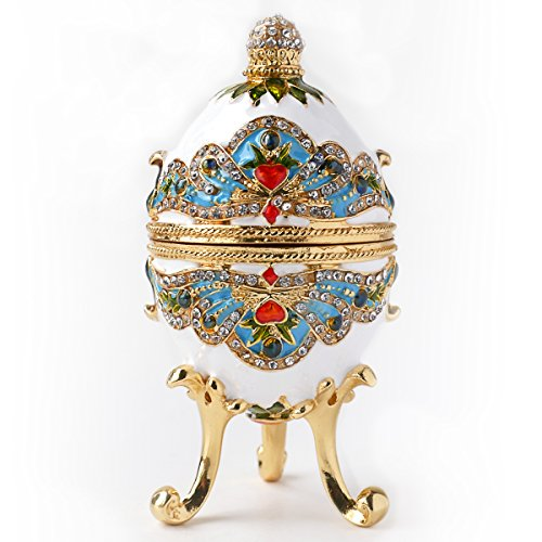 Hand- Painted Classic Vintage Style Faberge Egg with Rich Enamel and Sparkling Rhinestones Jewelry Trinket Box (Royal White)