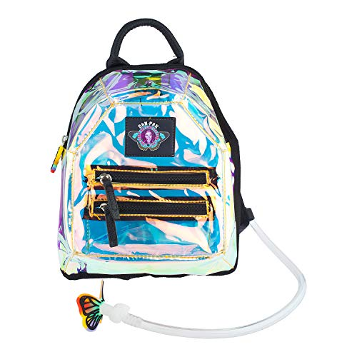 Dan-Pak Mini Hydration Pack- Clear Holographic- 1 Liter -See Through Reflective with Black Faux Leather