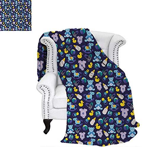 Lightweight Blanket Children Toys Pattern with Rubber Duck Teddy Bear Beach Ball and Rocking Horse Custom Design Cozy Flannel Blanket 60
