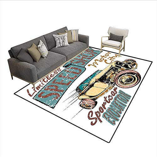 - Carpet,Limitless Speed Shop Advert with a Vintage Sports City Evolution Print,Print Area Rug,Blue Grey Sand Brown Ruby 6'6