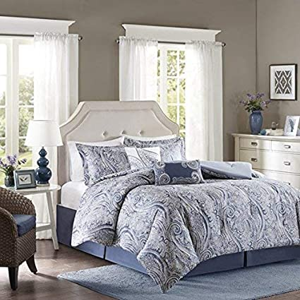 Swell Harbor House Stella King Size Bed Comforter Set Blue Paisley 5 Pieces Bedding Sets Cotton Bedroom Comforters Download Free Architecture Designs Sospemadebymaigaardcom