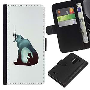 YiPhone /// Tirón de la caja Cartera de cuero con ranuras para tarjetas - Mal Bear & Boy - Pintura Abstracta - LG G3
