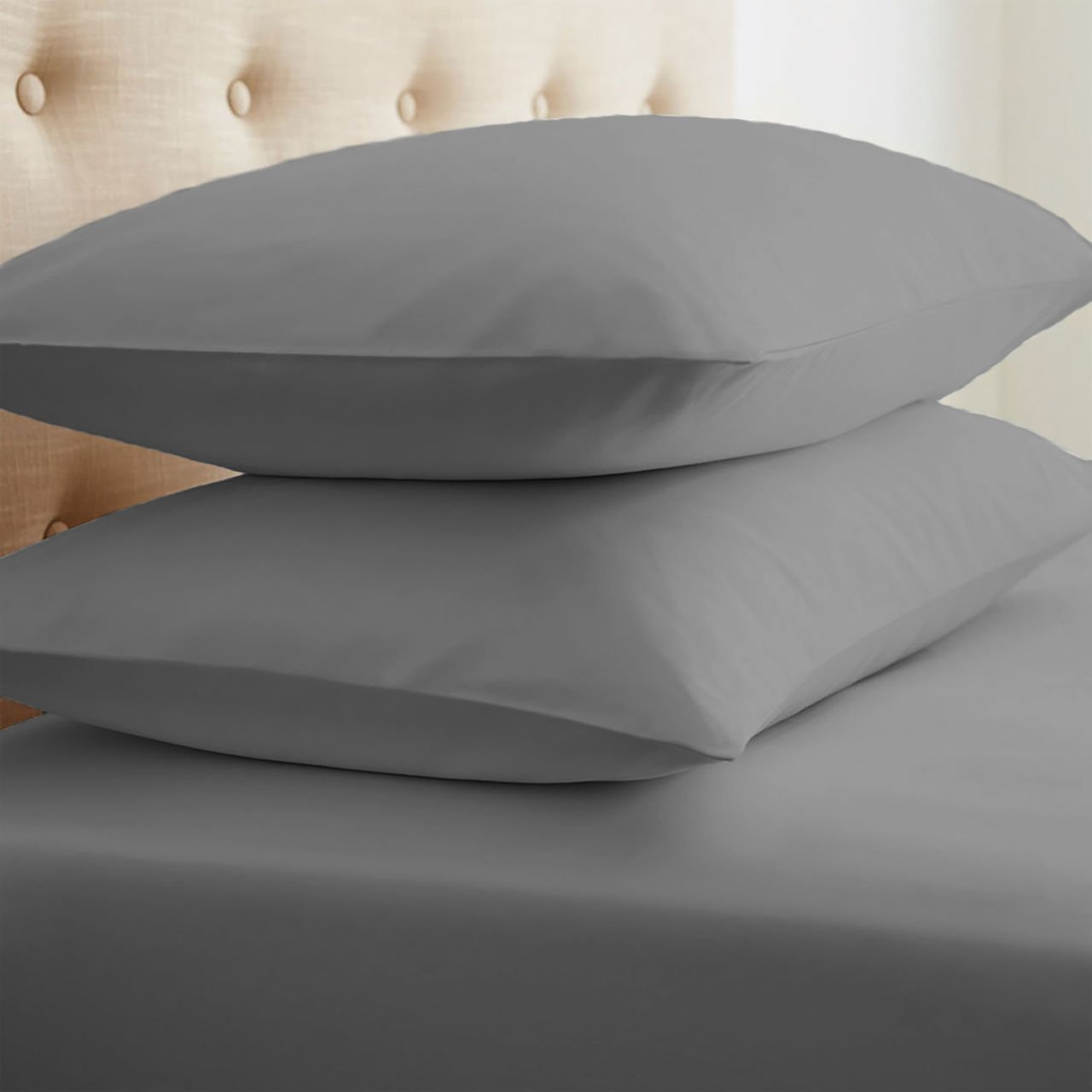ienjoy Home Collection Premium Ultra Soft Pillowcase Set, Standard, Gray