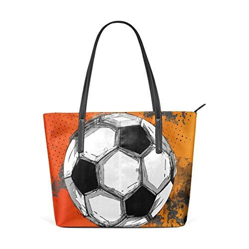 COOSUN Grunge a todo color del balón de fútbol de la PU de cuero bolso monedero y bolsos de la bolsa de asas para las mujeres Medio Multicolor # 003