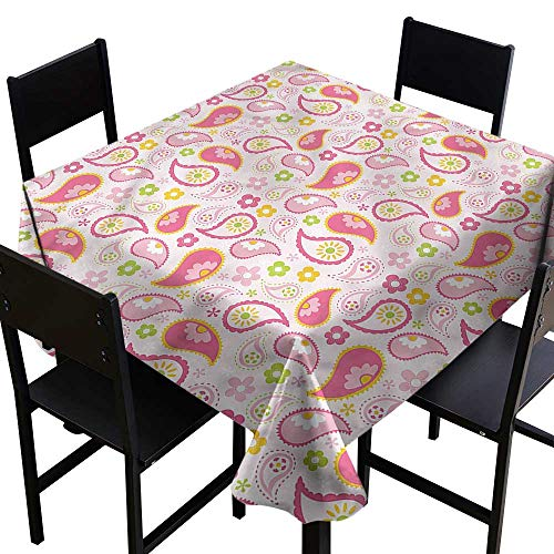 (Paisley Stain Resistant Square Tablecloth Spring Inspired Daisies It's Good to be Home Gorgeous High End Quality 36 x 36)