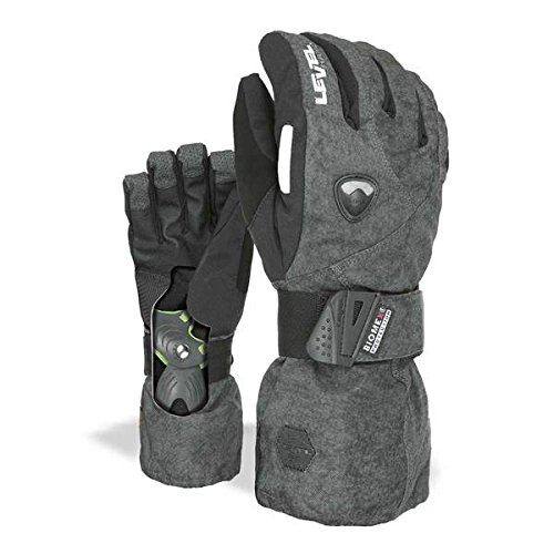Level Fly Snowboard Gloves with Wrist Guards, Proven BioMex Design, Kevlar Palms, Removable Liner (PK Black, Small/Medium (7.5in))