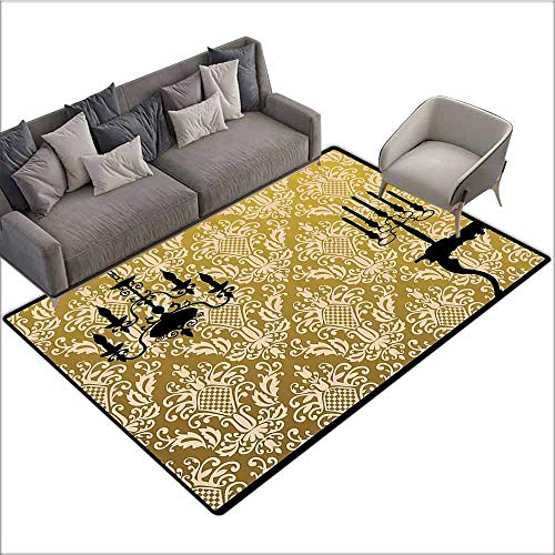 (Floor Mat Entrance Doormat Damask Decor,English Country House Damask Motif on Wall and Chandelier Silhouettes Renaissance Decor,Golden Black 80