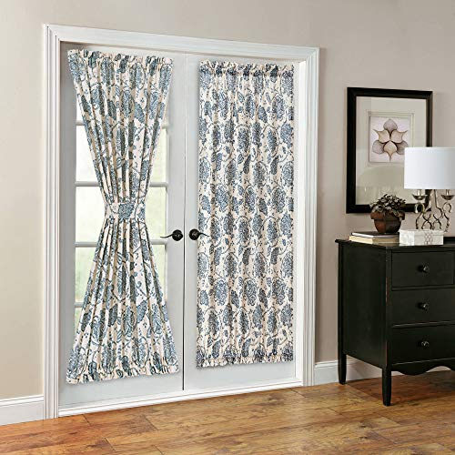 (French Door Panel Curtains Paisley Scroll Printed Linen Textured French Door Curtains 72 inches Long French Door Panels, Tieback Included, 1 Panel, Teal)