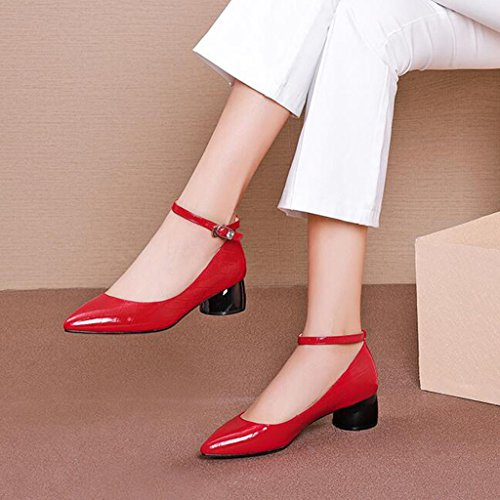Muma Pompes Chaussures Simples Dames Moyen Talon Chaussures Dentelle Rouge Petites Chaussures Bouche Peu Profonde Chaussures À Talons Rugueux Noir (couleur: Noir, Taille: Eu36 / Uk3.5 / Cn35) Rouge
