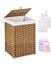 Greenstell Laundry Hamper with 2 Removable liner Bags & 2 Mesh Laundry Bags, Handwoven Laundry Basket, Synthetic Rattan Panier à Linge with Lid and Handles, 60L Waterproof Foldable and Easy to Install Clothes Hamper for Bedroom, Bathroom (Natural)