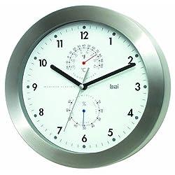 BAI Brushed Aluminum Weather Station Wall Clock, White
