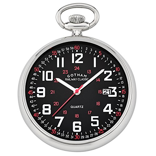 Gotham Men's Silver-Tone Analog Quartz Date Railroad Pocket Watch # GWC14105SB (Tone Analog Silver)