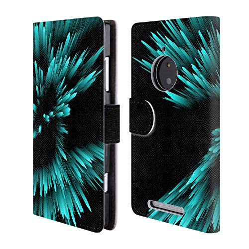 Official Haroulita Teal Explosion Abstract Glitch 2 Leather Book Wallet Case Cover for Nokia Lumia 830 (Phone Cover For Nokia Lumia 830)
