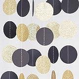 Chloe Elizabeth Circle Dots Paper Party Garland Backdrop (10 Feet Long) - Black, Gold Glitter