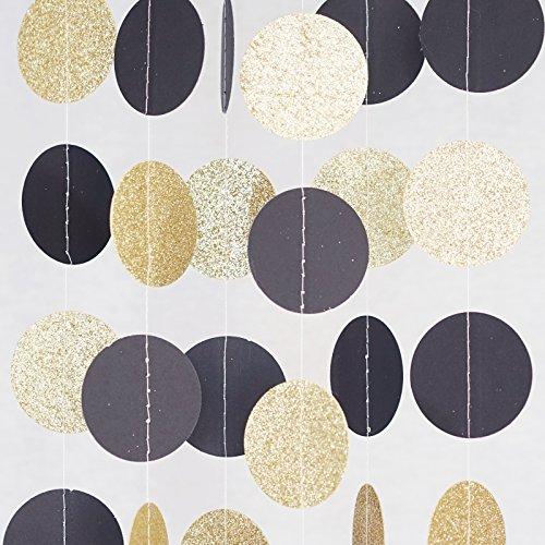 Chloe Elizabeth Circle Dots Paper Party Garland Streamer Backdrop (10 Feet Long) - Black, Gold Glitter