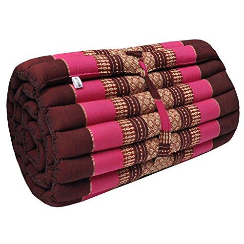 Thai mattress S (55 cm larg), relaxation, beach cushion, pool, meditation, yoga Bordeaux/Pink (81413) by Wilai GmbH