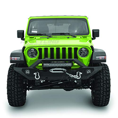 Restyling Factory Black Textured Front Bumper With Oe Fog Light Hole 2x D Ring And Built In 21 23 Led Light Bar Mount Winch Mount Plate For