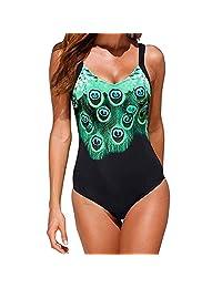 KINDOYO Women's Tankini One Piece Swimwear Ladies Bikini Swimsuit Triangle Soft Adjustable V-neck Peacock Print