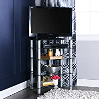 Walker Edison 35 Glass Media Storage Tower, Silver