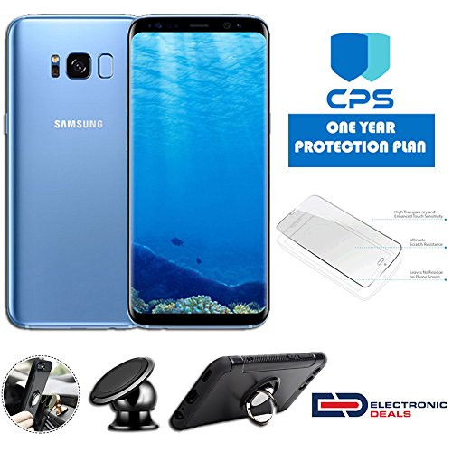 Samsung Cdma Gsm - Samsung Galaxy S8+ Plus G955U CDMA & GSM Unlocked w/EDBundle - $99 Value (Bundle Includes: Ring Case + Holder Magnetic + Screen Protector + 1 Y/CPS L/W, (Coral Blue, 64 GB), (Certified Refurbished)
