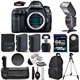 Canon EOS 5D Mark IV Digital SLR Camera + Battery Grip + Flash + 64GB Class 10 + Extra Battery + Backpack + Wireless Remote + Tripod - International Version (No Warranty) (Body & Battery Grip & Flash)