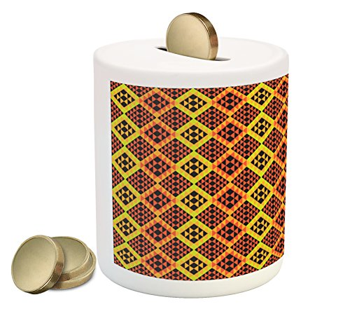 Cheap  Ethnic Coin Box Bank by Ambesonne, Warm Colored Rhombus Pattern Design from..