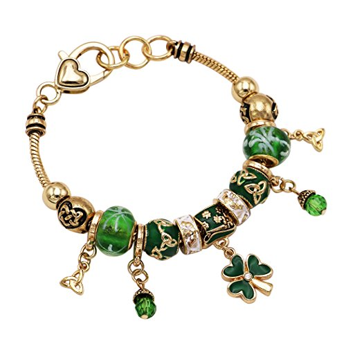 Green Gold Claddagh Charm (Rosemarie Collections Women's Beaded Charm Bracelet Leprechaun Hat Irish Shamrock (Gold Tone))