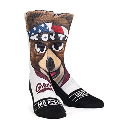 Rock'em Apparel NCAA Montana Grizzlies Custom Athletic Crew Socks, Youth, Monte Mascot
