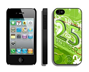 Customized Design Iphone 4S Protective Skin Case Merry Christmas iPhone 4 4S Case 56 Black