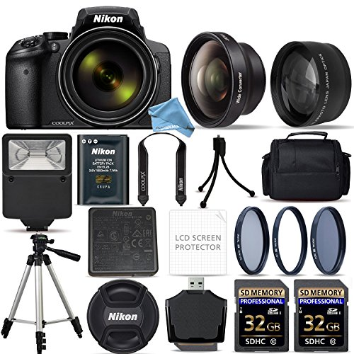 Nikon COOLPIX P900 Digital Camera with 83x Optical Zoom and Built-In Wi-Fi (Black) + 64GB Starter Bundle. Includes 2X Memory Cards + 3Piece Filter Kit + Tripod + Case + Free DigitalAndMore Accessories by DigitalandMore