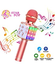 ShinePick Microfono Karaoke, 4 in 1 Bluetooth Wireless LED Flash Microfono Portatile Karaoke Player con Altoparlante per Android/iOS, PC e Smartphone(Oro Rosa)