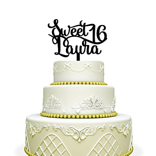 Personalized Sweet 16 Cake Topper For Birthday Black