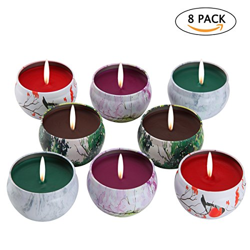 Christmas Tree Tea Set - KitchenGynti Scented Candles Gift Set - Lavender, Rose, Tea Tree and Peppermint, Candle 100% Soy Wax for Stress Relief and Aromatherapy, Christmas Gift Candles - 8 Pack