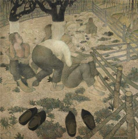 Oil Painting 'Gustave Van De Woestyne - The Sleepers,1918', 10 x 10 inch / 25 x 26 cm , on High Definition HD canvas prints is for Gifts And Kids Room, Laundry Room And Nursery Decoration