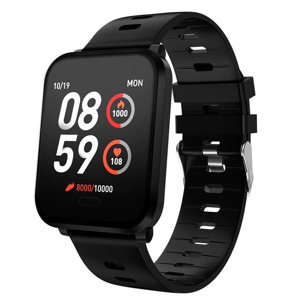 YNAA for Android iOS, Sport Smart Watch, Fitness Calorie Heart Rate Monitoring, Remote Photography Smart Bracelet (Black)