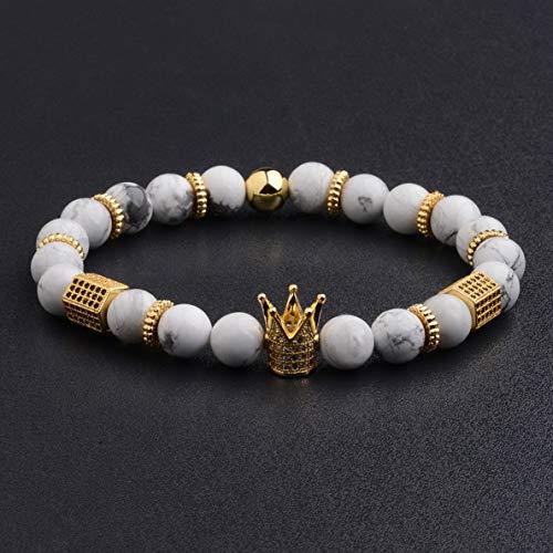 Werrox 10 Pieces Balls 4MM Copper Beads Charm Crown CZ Braided Macrame Men Bracelets | Model BRCLT - 3577 |