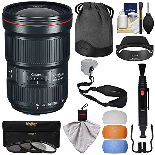 Canon EF 16-35mm f/2.8L III USM Zoom Lens with 3 UV/CPL/ND8 Filters + Flash Diffusers + Sling Strap + Kit (Canon Weatherproof Camera)