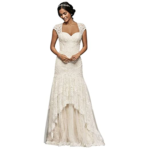 0aa9e3c936840 Tiered Lace Mermaid Wedding Dress with Beading Style MS251175, Solid Ivory,  2