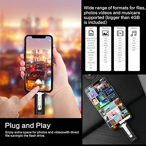 USB Flash Drive for iPhone Phone 128 GB RMF Memory Stick USB 3.0 for iPhone iPad Android and Computer Flash Drive Lightning Storage (Black 128 GB) by RUIMF (Image #4)