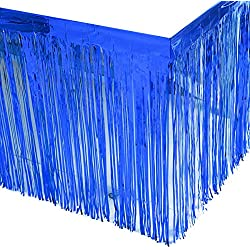 Leegleri 2 Pack Metallic Foil Fringe Table Skirt Blue Table Skirt Tinsel Party Table Skirt Banner for Mardi Gras Party(L108 inH 29in,Blue)