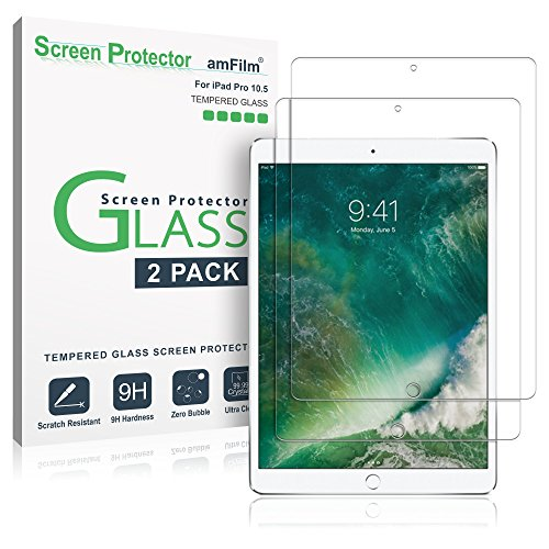 "iPad Pro 10.5 inch Screen Protector Glass (2-Pack), amFilm Tempered Glass Screen Protector for Apple iPad Pro 10.5"" 2017 Case Friendly and Apple Pencil Compatible 0.33mm 2.5D Rounded Edge (2-Pack)"