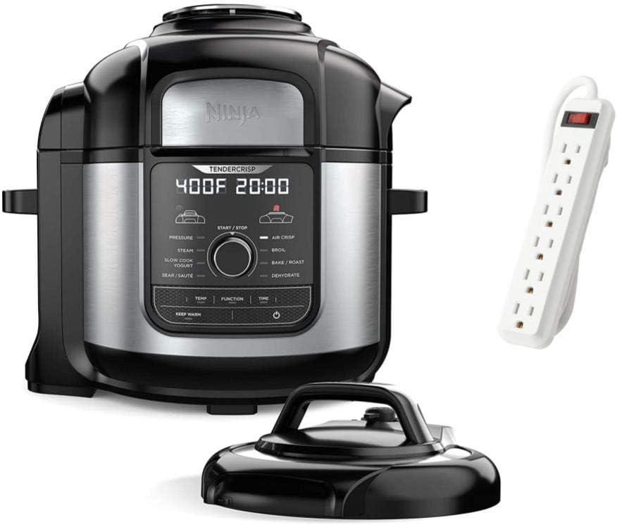 Ninja Foodi 2021 Premium 8 Quart 9-in-1 Deluxe XL Digital Multi Pressure Cooker, Air Fryer, Broil, Dehydrate, Slow Cook, Stainless Steel/Black, TMLTT Power Strip