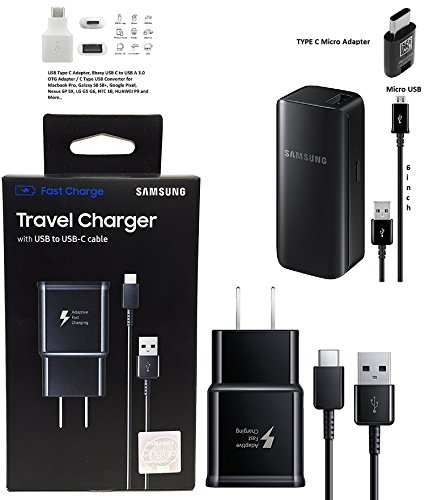 Offical OEM Samsung Adaptive Fast Charging Black Charger - for Samsung Galaxy S8/S9/+/Note8 & W/2100mAh Quick Battery Charger & Google C USB Adapter (US Retail Combo Pack)