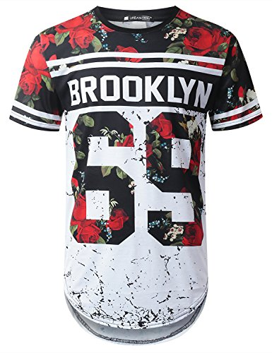 URBANTOPS Mens Hipster Hip Hop Brooklyn 69 Floral Longline T-shirt WHITE, L (Brooklyn Shirts T)
